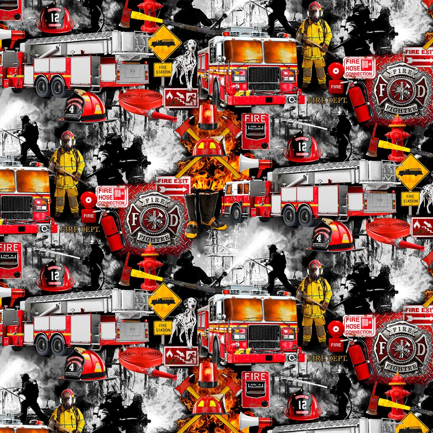 FIRE-C7731-BLACK Firefighter Patchwork