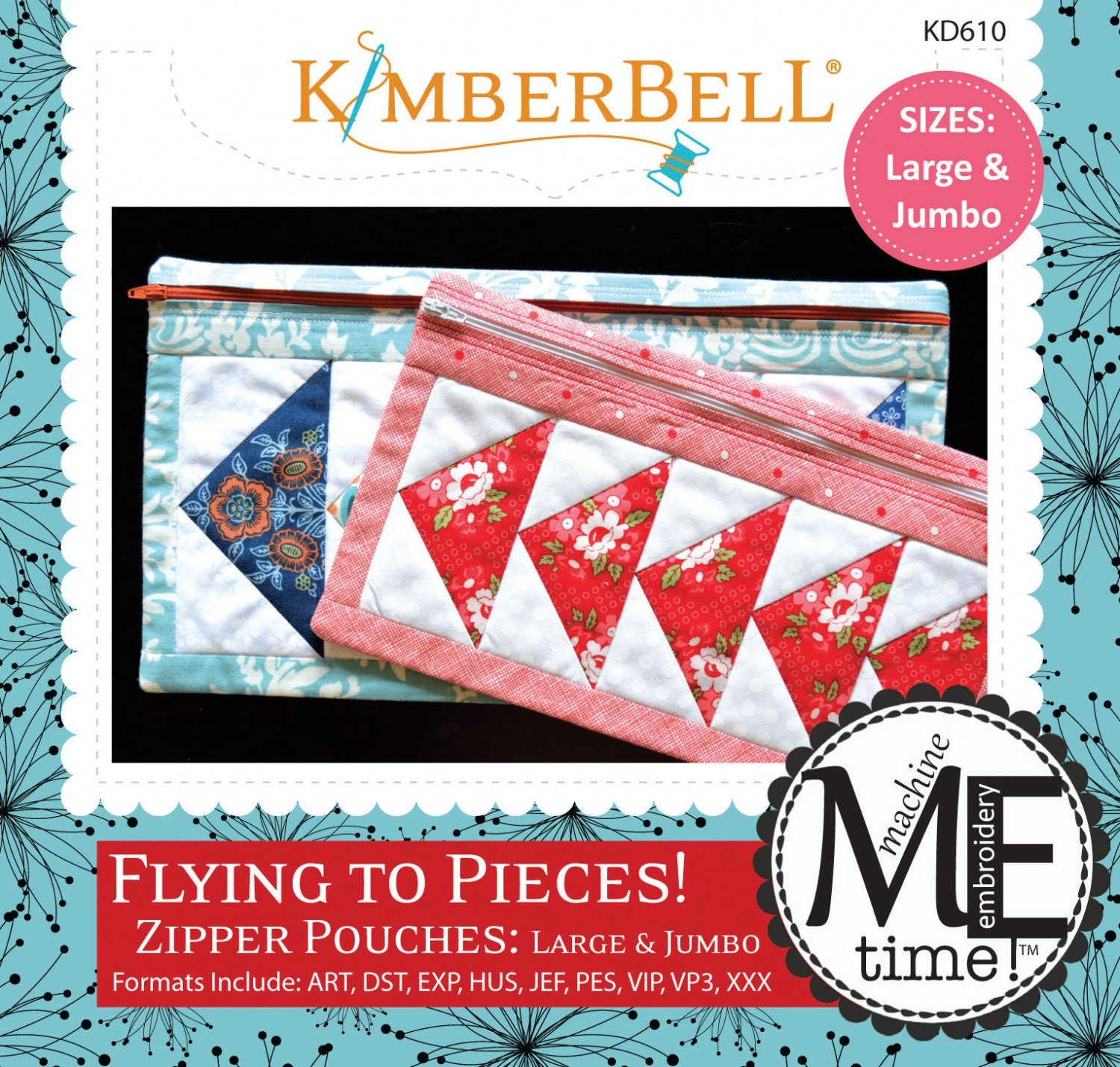 Flying to Pieces Zipper Pouch L/J Machine Embroidery Design CD