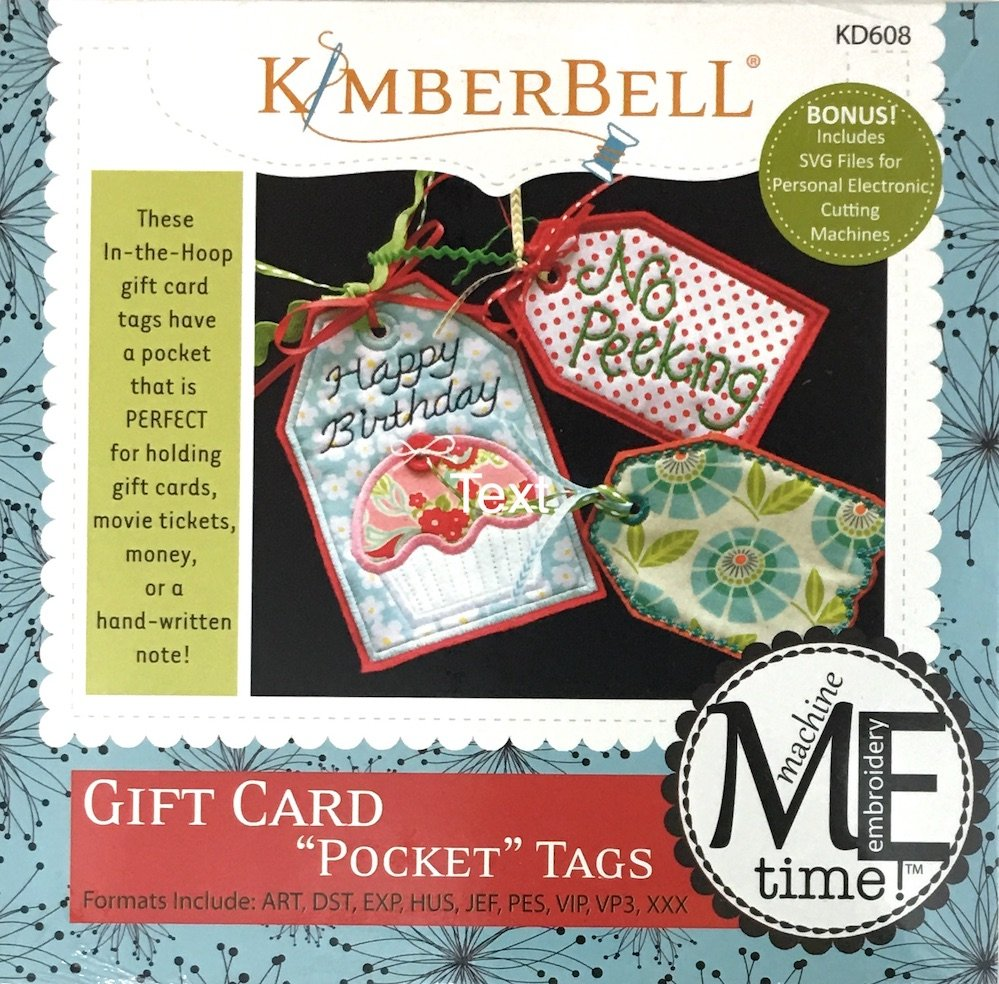 Gift Card Pocket Tags Machine Embroidery Patterns CD