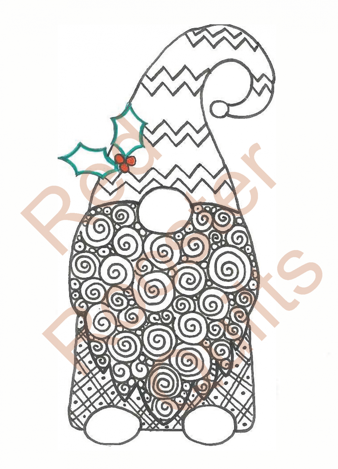 Zentangle Inspired Christmas Holly Gnome Swatch - RRQ Original