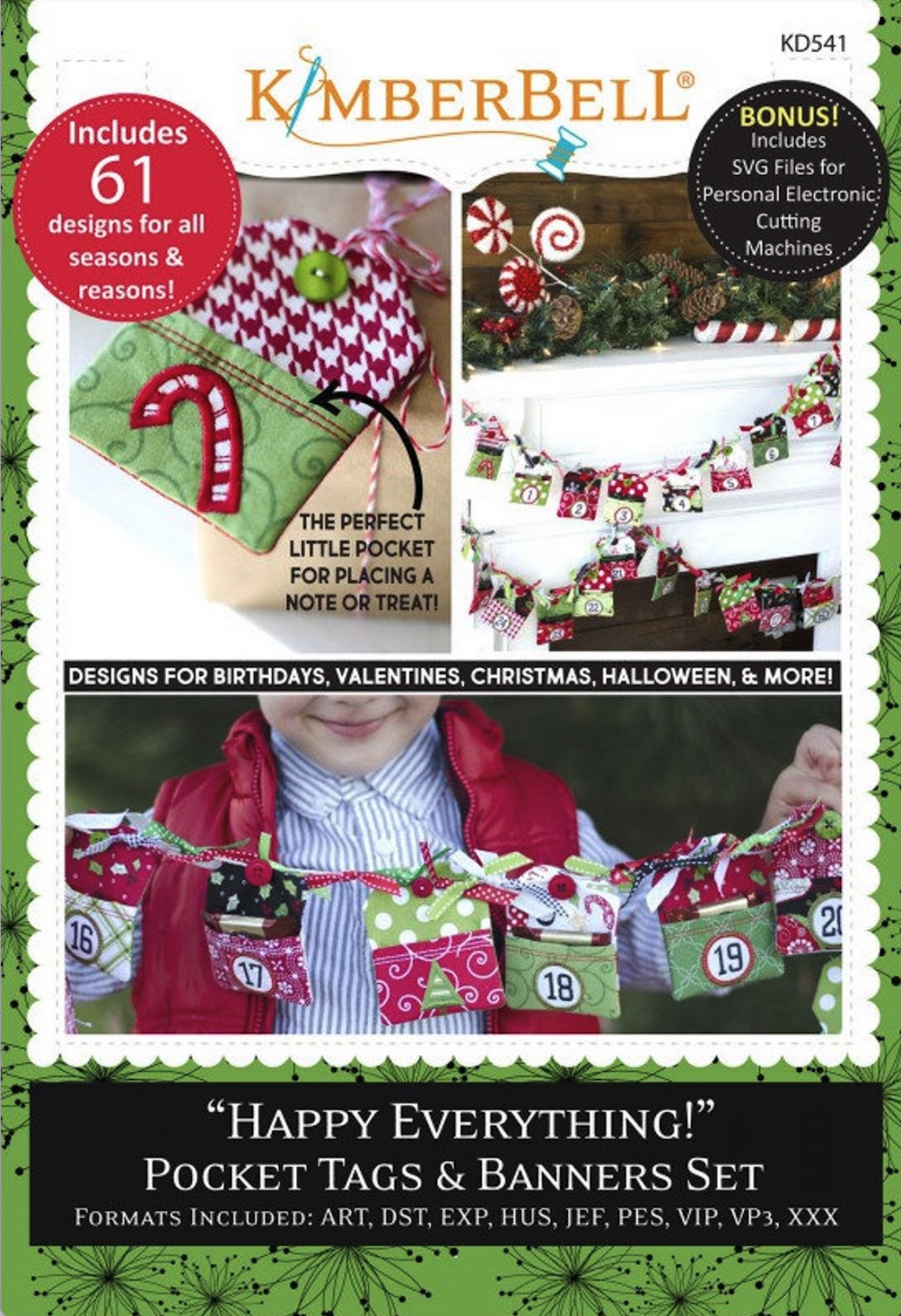Happy Everything! Pocket Tags & Banners Set Machine Embroidery Patterns CD