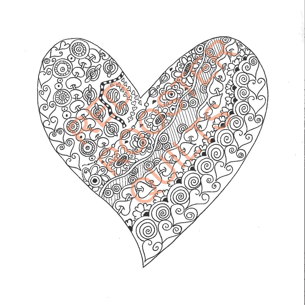 Zentangle Inspired Heart Swatch - RRQ Original