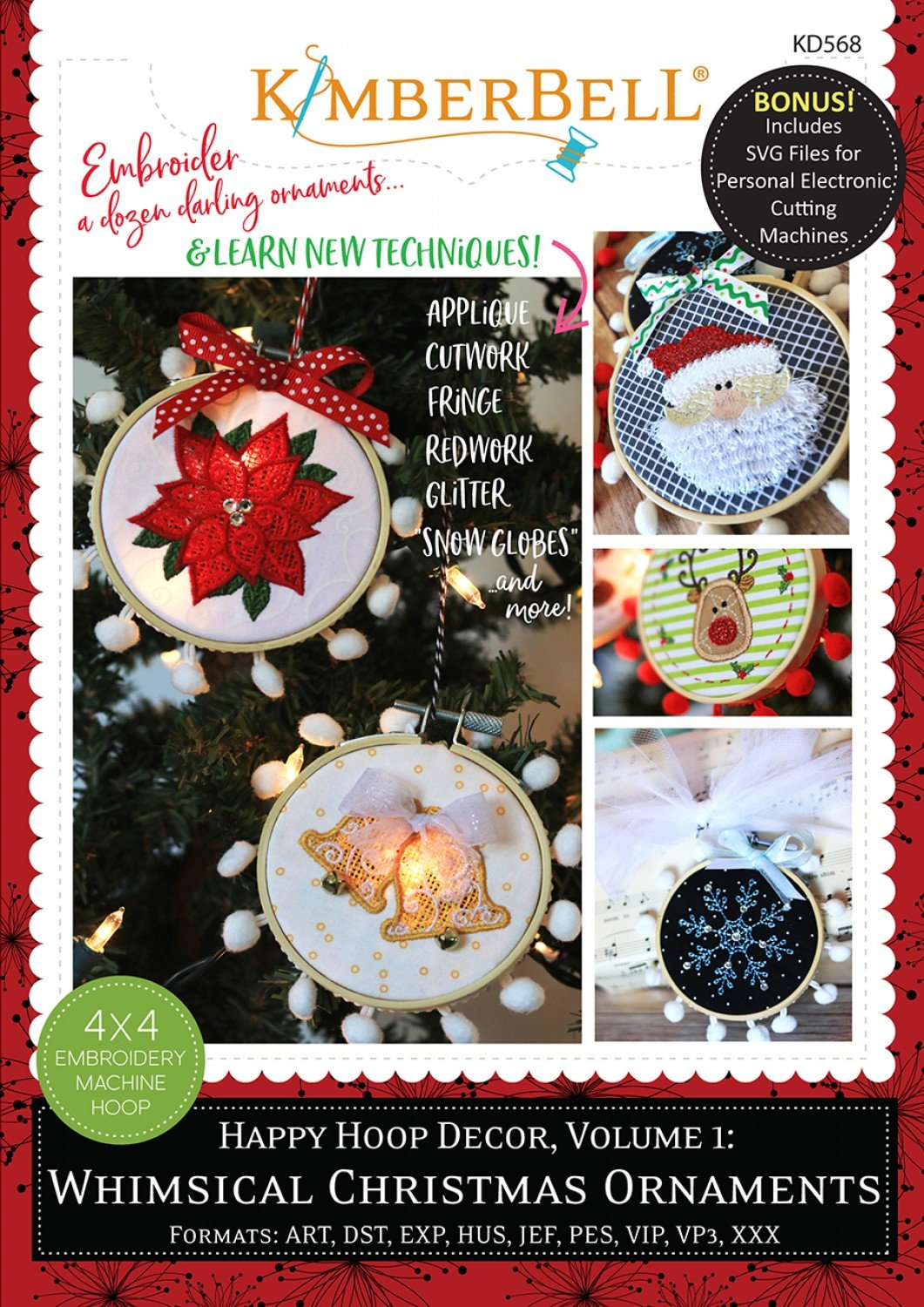 Happy Hoop Decor Volume 1 Whimsical Christmas Ornaments Machine Embroidery CD