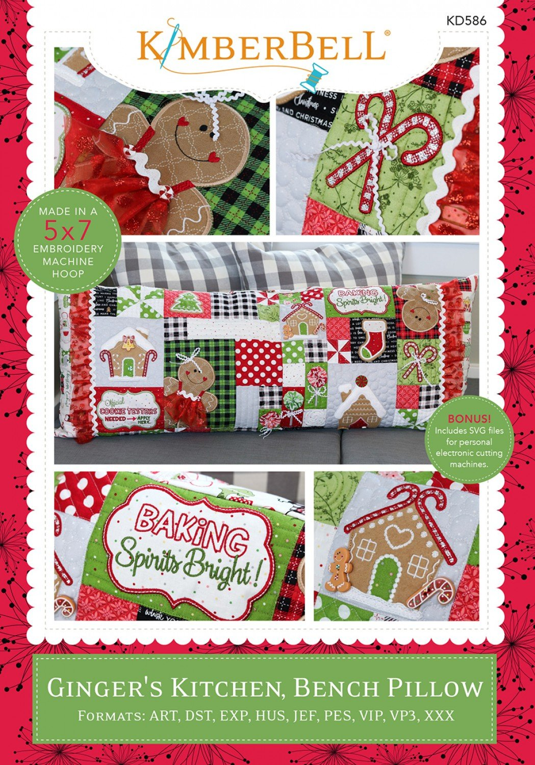 Ginger's Kitchen Bench Pillow Machine Embroidery CD