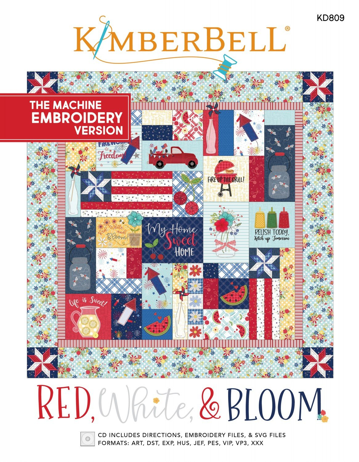 Red, White, & Bloom Machine Embroidery Patterns CD
