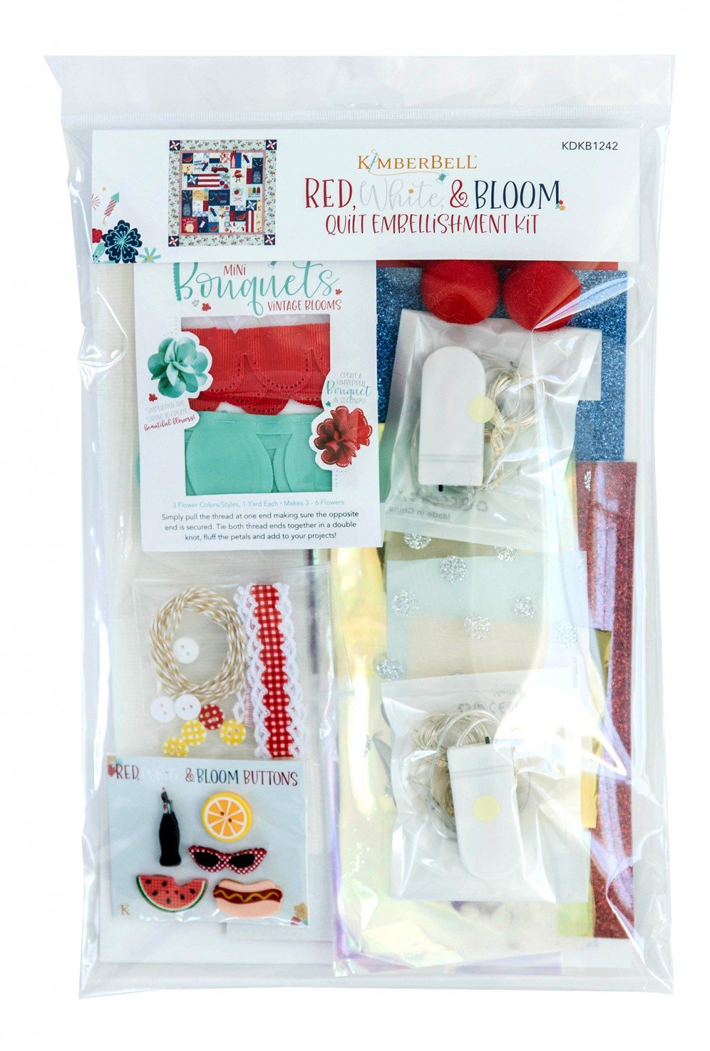 Red, White & Bloom Quilt Embellishments Kit