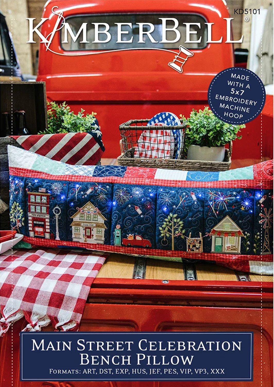 Main Street Celebration Bench Pillow Machine Embroidery Patterns CD