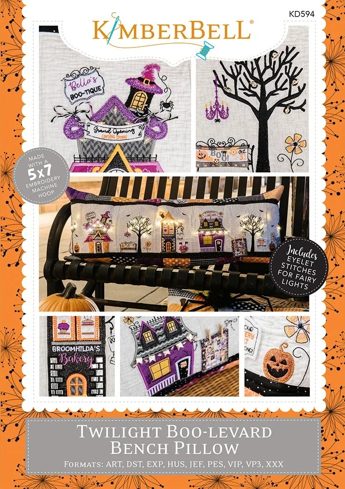 Twilight Boo-levard Bench Pillow Machine Embroidery Patterns CD