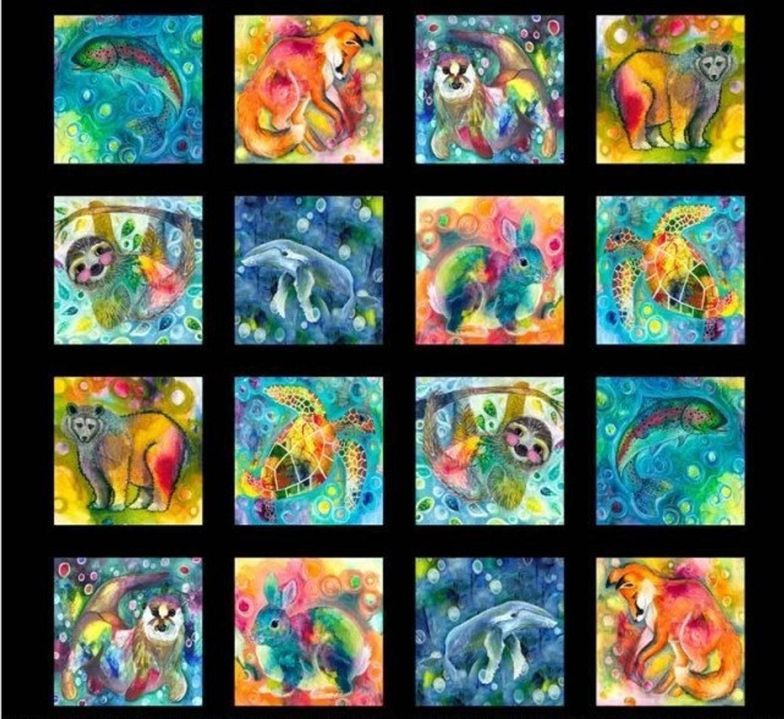 LIVW-3075-MU Wild Animals Blocks multi
