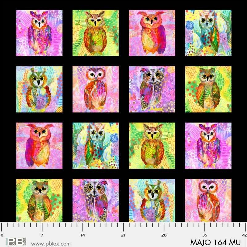 MAJO 164 MU Majestic Owls Blocks multi on black