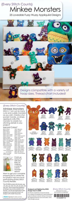 Minkee Monster Embroidery CD
