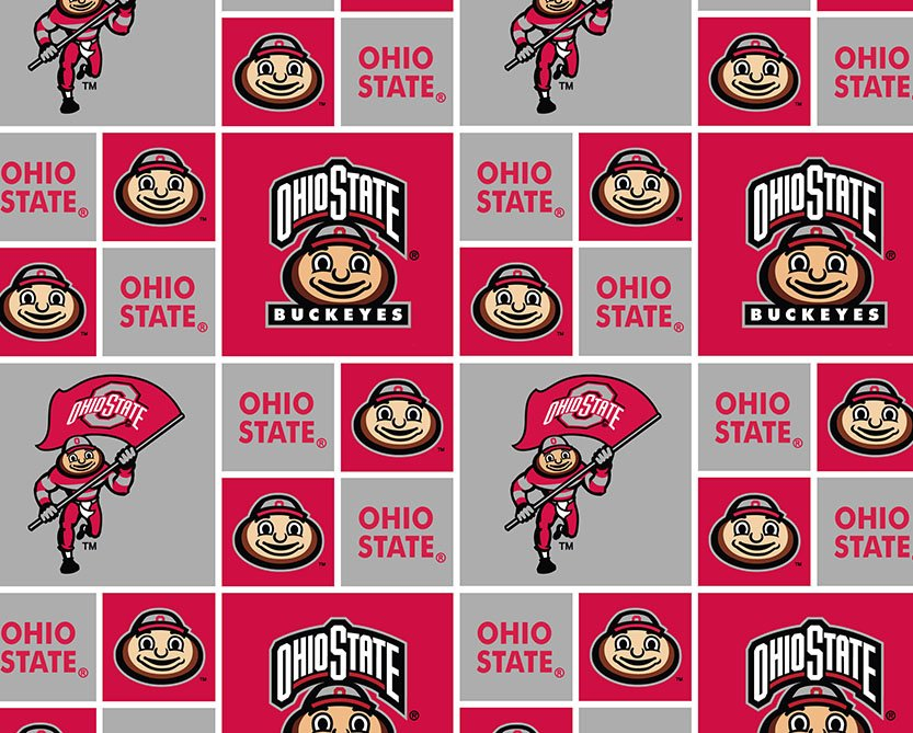 OHS-021 Ohio State Buckeyes Block Print with Flag