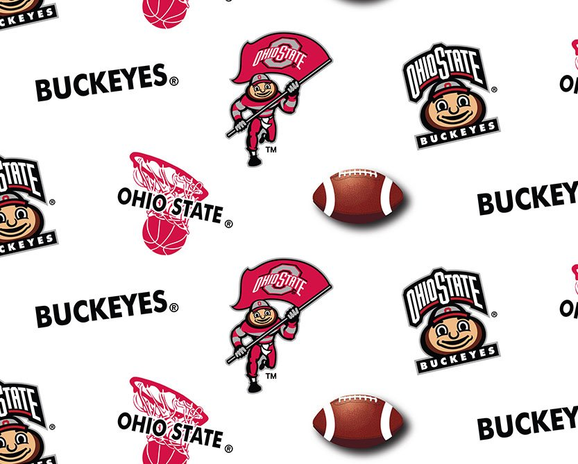 OHS-042 Ohio State Buckeyes Football Basketball All Over White