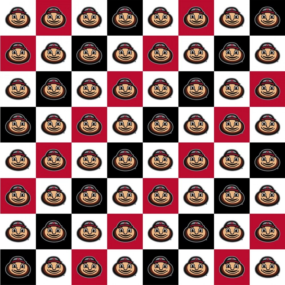 OHS-1158 Ohio State Buckeyes Digital Checkerboard Brutus Squares