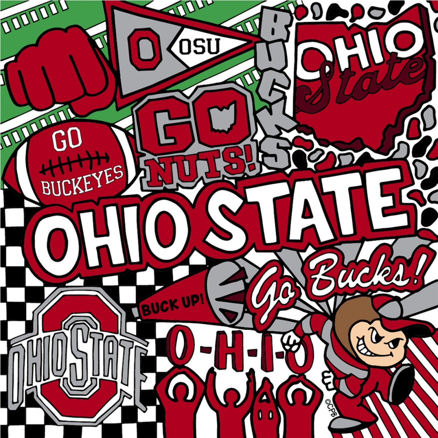 OHS-1165 Ohio State Buckeyes Digital Collage