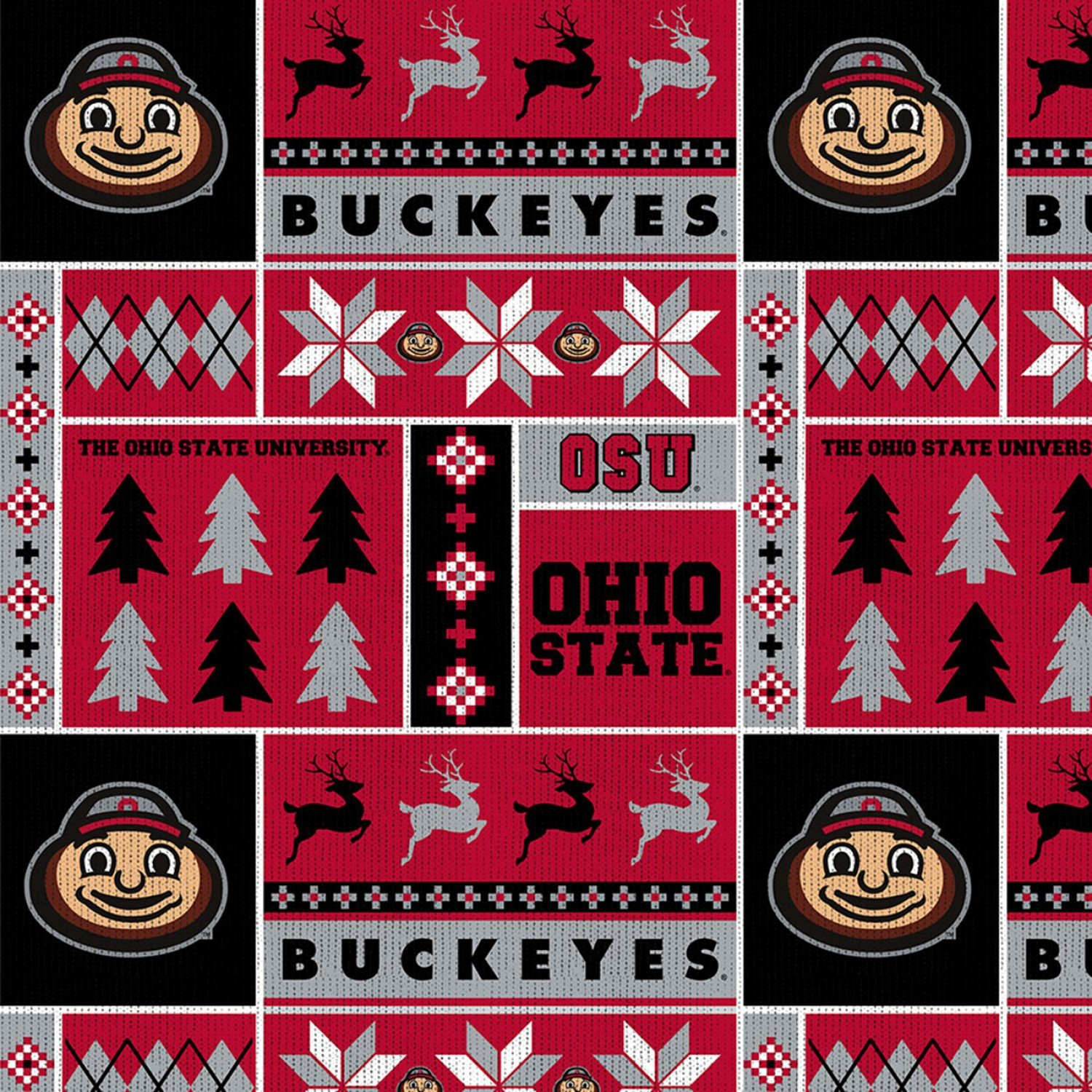 OHS-1182 Ohio State Buckeyes Ugly Sweater Fleece