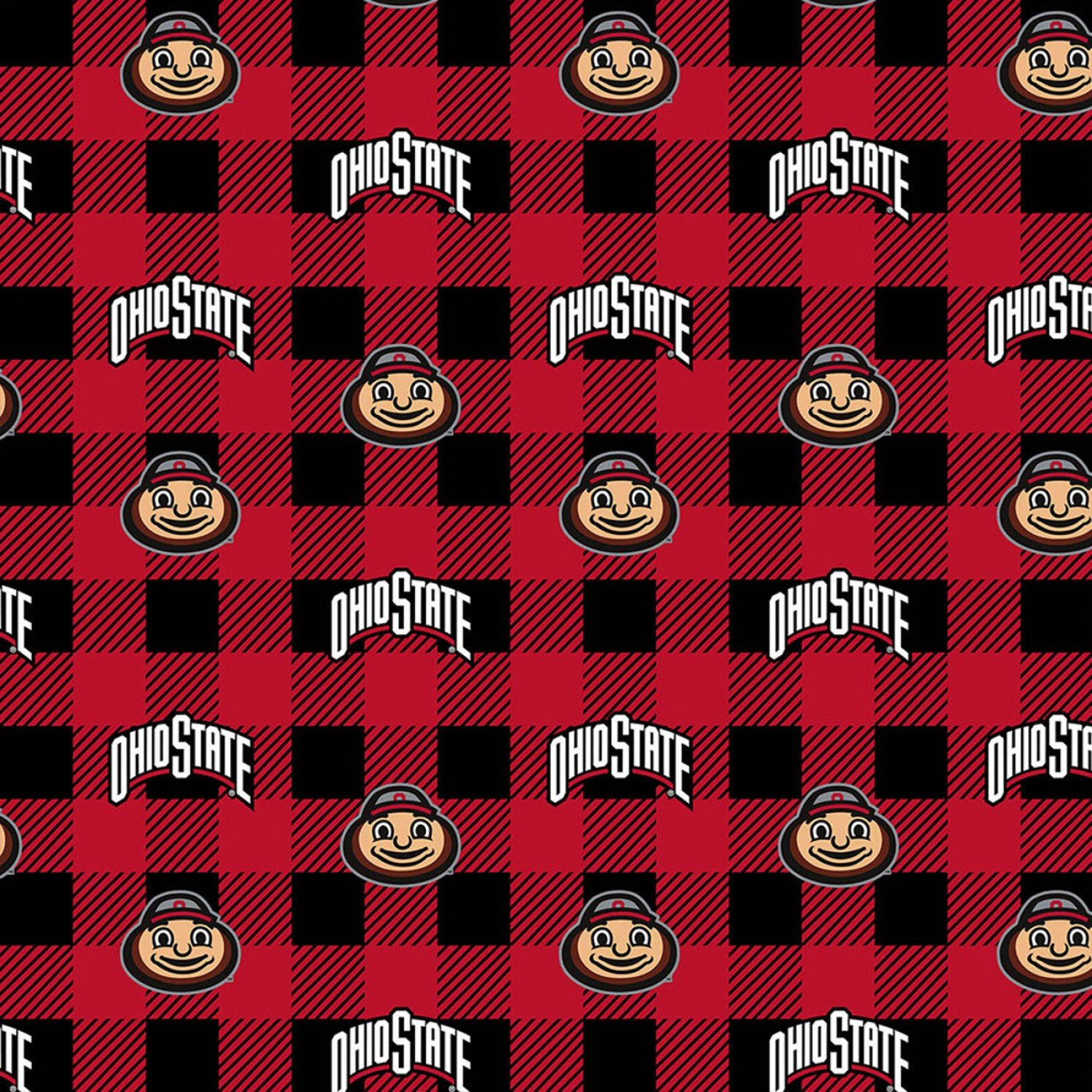 OHS-1190 Ohio State Buckeyes Buffalo Plaid Fleece