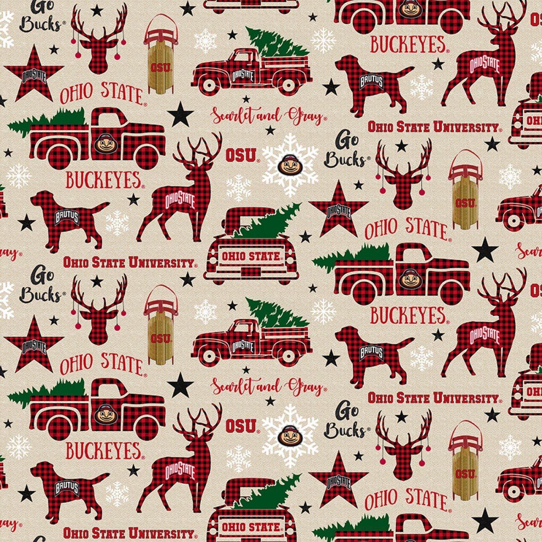 OHS-1213 Ohio State Buckeyes Christmas Allover
