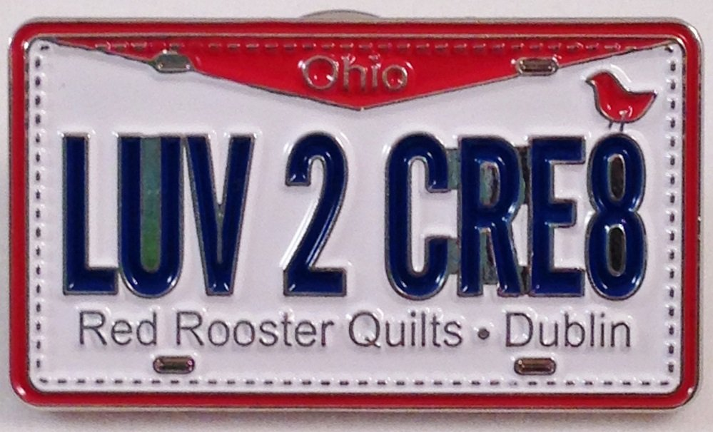 Row by Row Experience 2015 License Plate Pin RRQ OHIO