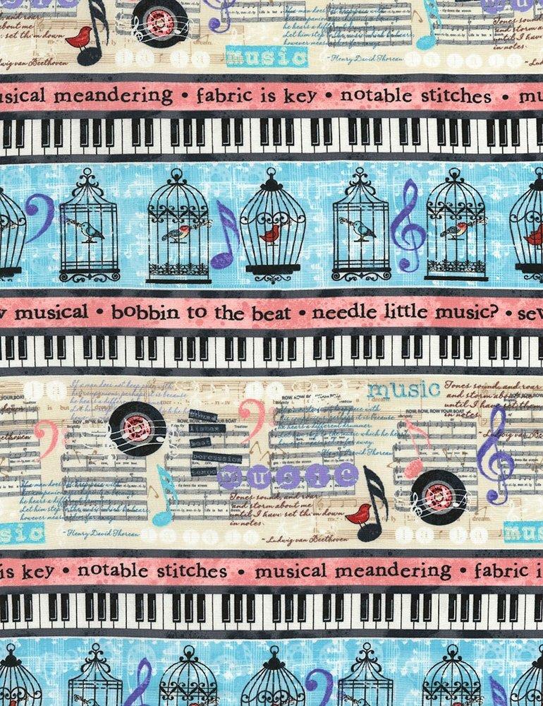 Row-C5933-Cream Needle Little Music Border Stripes