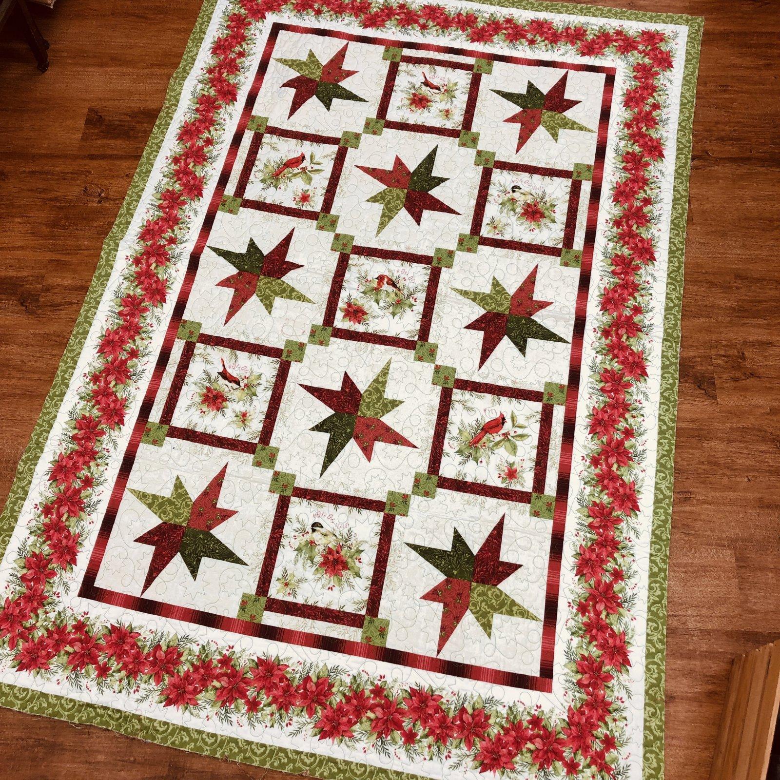 Sample - Christmas Stars Quilt, needs binding