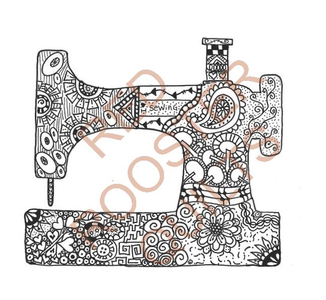 Zentangle Inspired Sewing Machine Swatch - RRQ Original