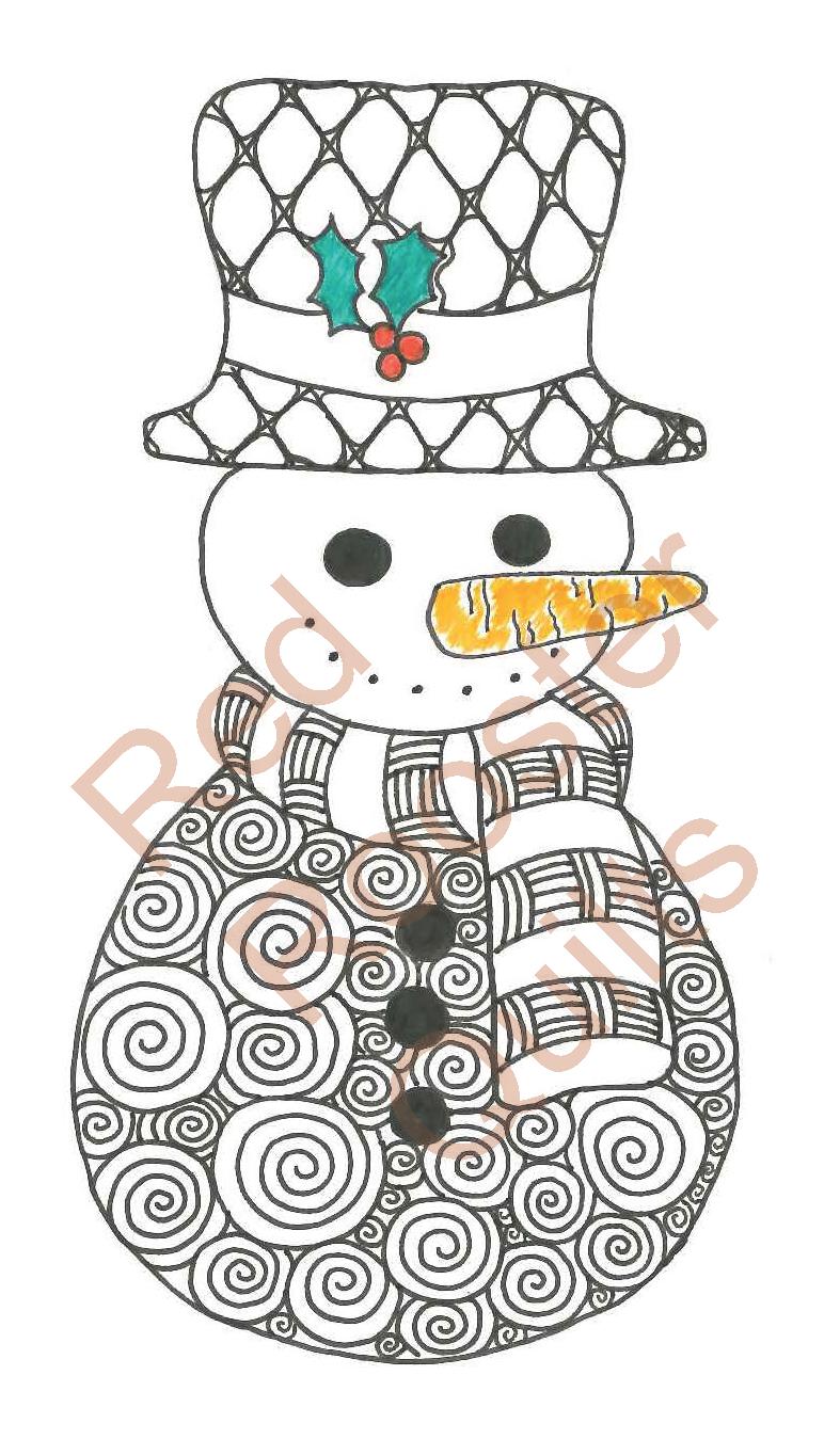 Zentangle Inspired Single Snowman Swatch - RRQ Original