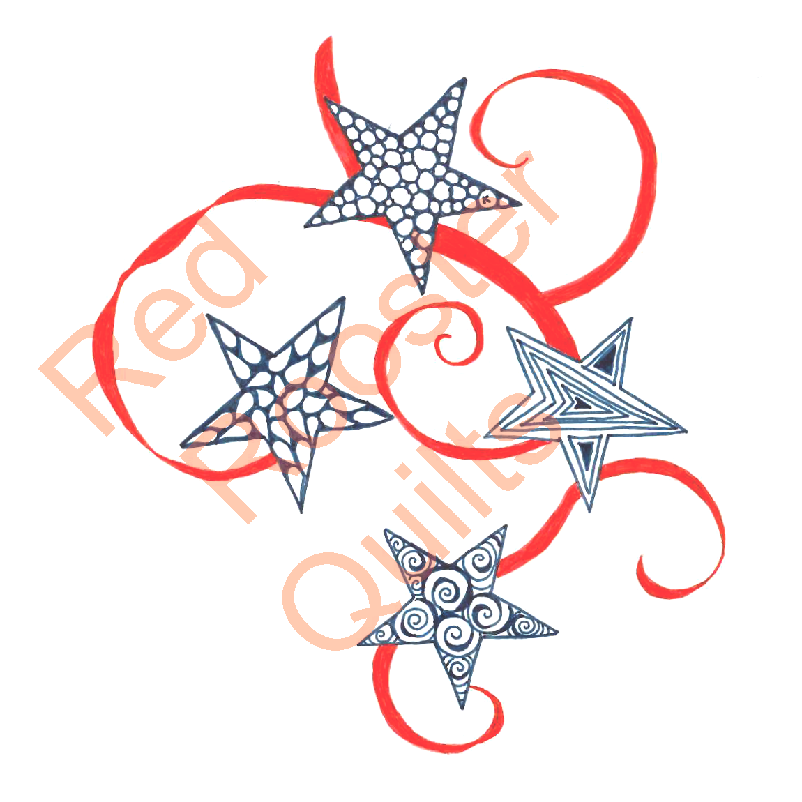 Zentangle Inspired Stars and Ribbon Swatch - RRQ Original