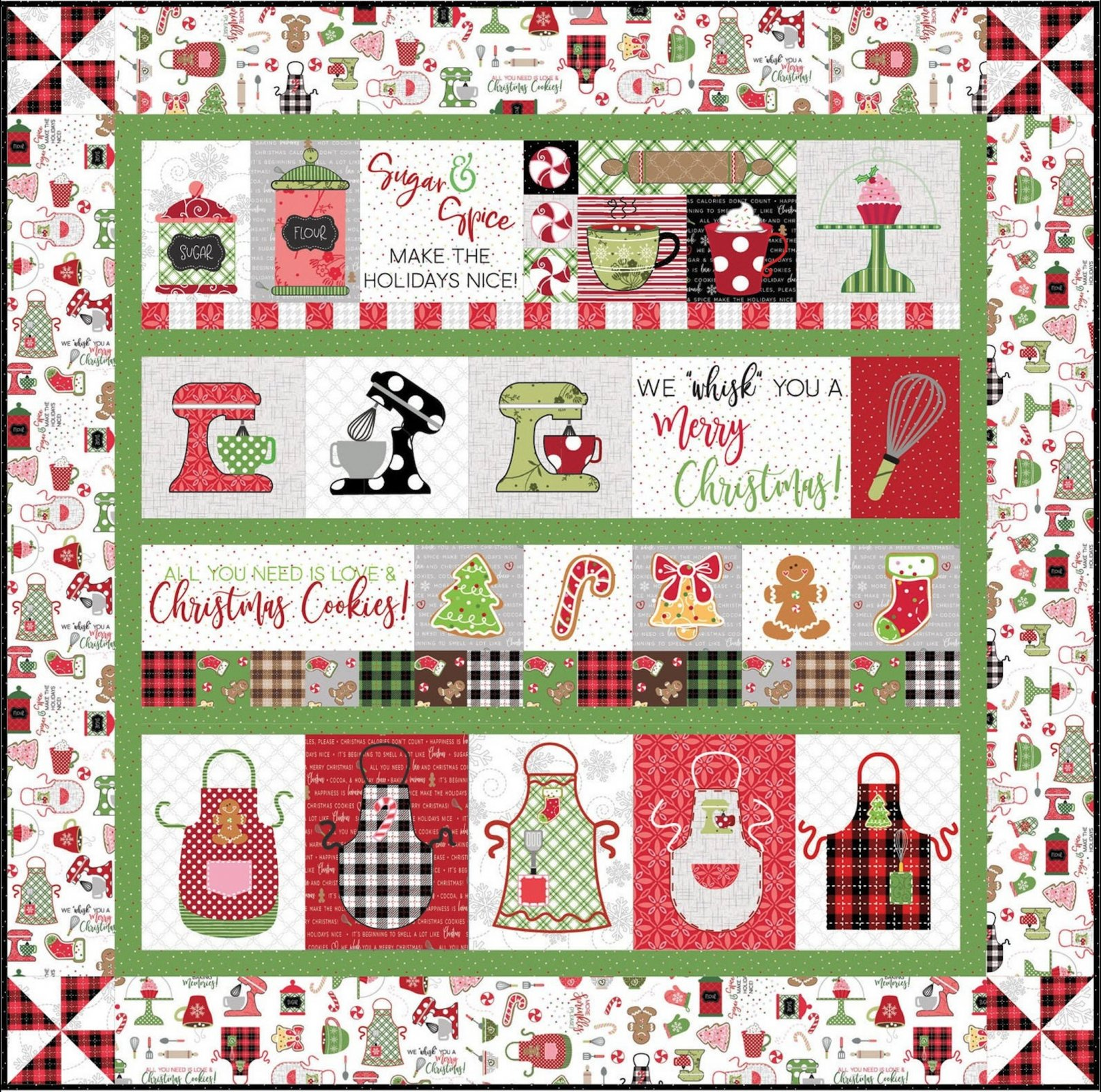 We Whisk You A Merry Christmas Embroidery Quilt Kit - white border