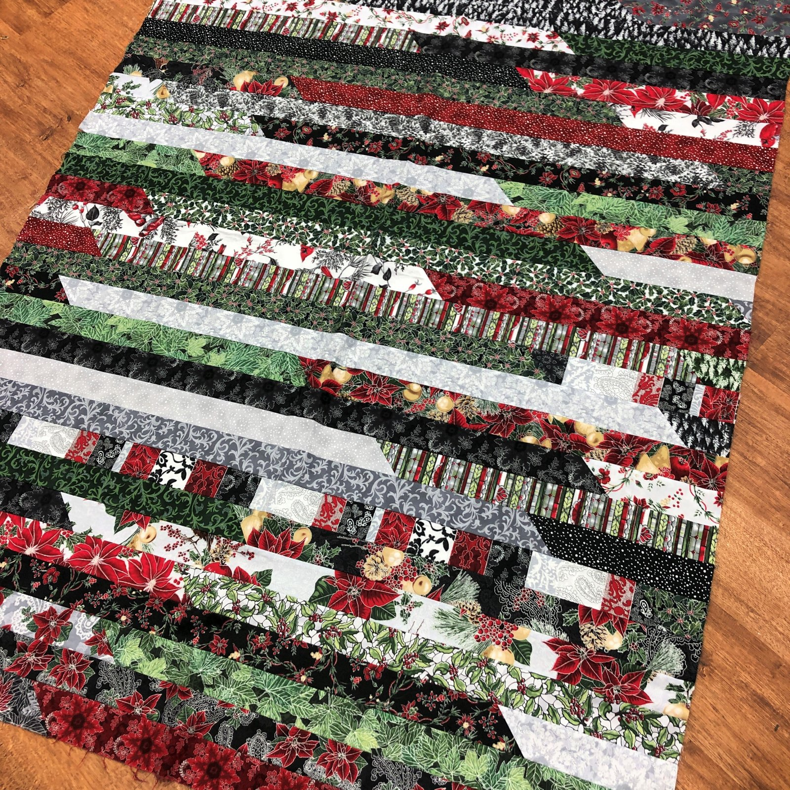 Sample - Christmas Strip Quilt Top