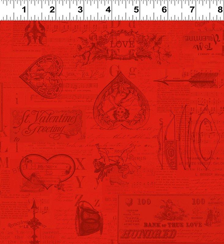 y2028-4 Valentine Toile red