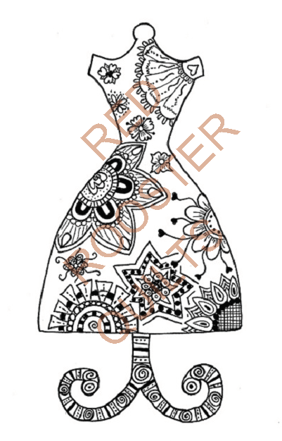 Zentangle Inspired Dress Form Swatch - RRQ Original