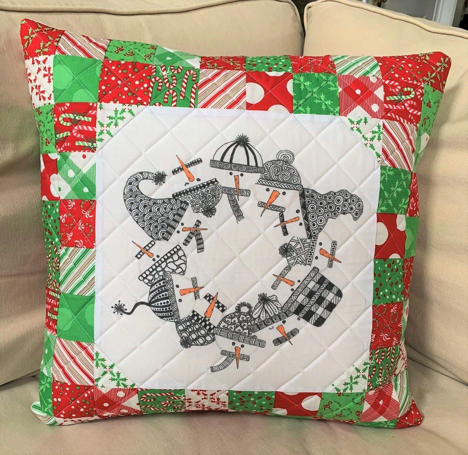 Zentangle Inspired Snowmen Circle of Friends Pillow Kit - RRQ Original