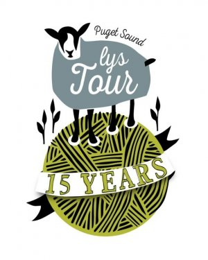 Puget Sound LYS Tour logo - a sheep standing on a ball of yarn