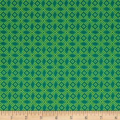 STOF France Le Quilt Ile Aux Oiseaux Geometric Green Fabric