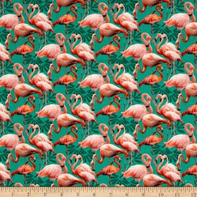 STOF France Le Quilt Ile Aux Oiseaux Pink/Green Fabric