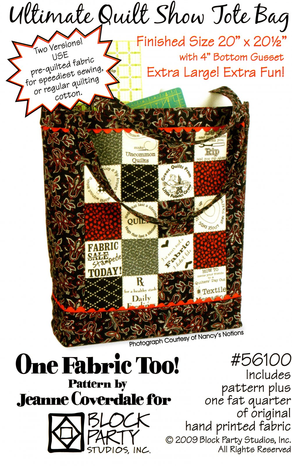 Ultimate Quilt Show Tote Bag with TQRT 2 Panel