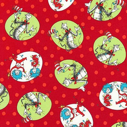 Cat Character Bubbles Red - 2yards