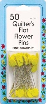 50 Quilter's Flat Flower Pins - Collins