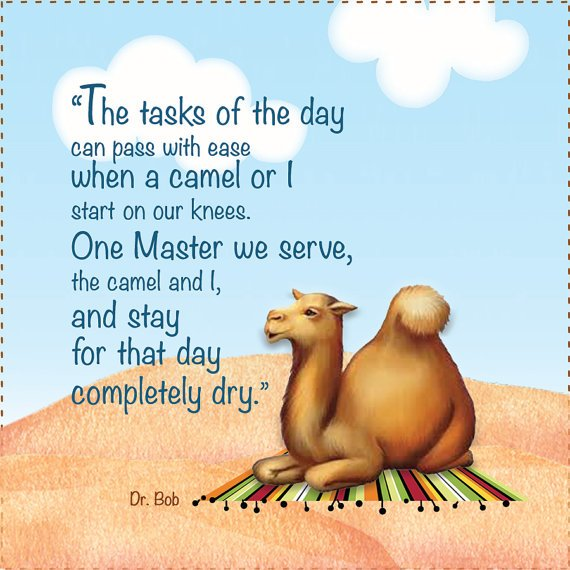 Camel Prayer - 6 Square Fabric Art Panel