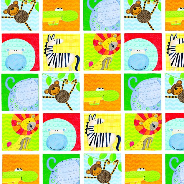 it's a jungle here flannel - Animal Squares