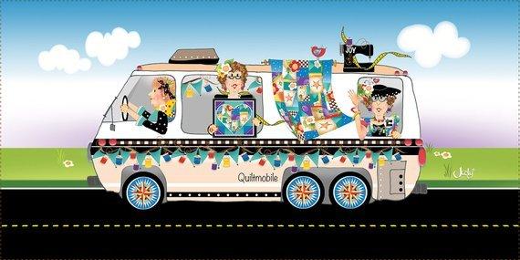 Quiltmobile 6 x 12 Fabric Art Panel