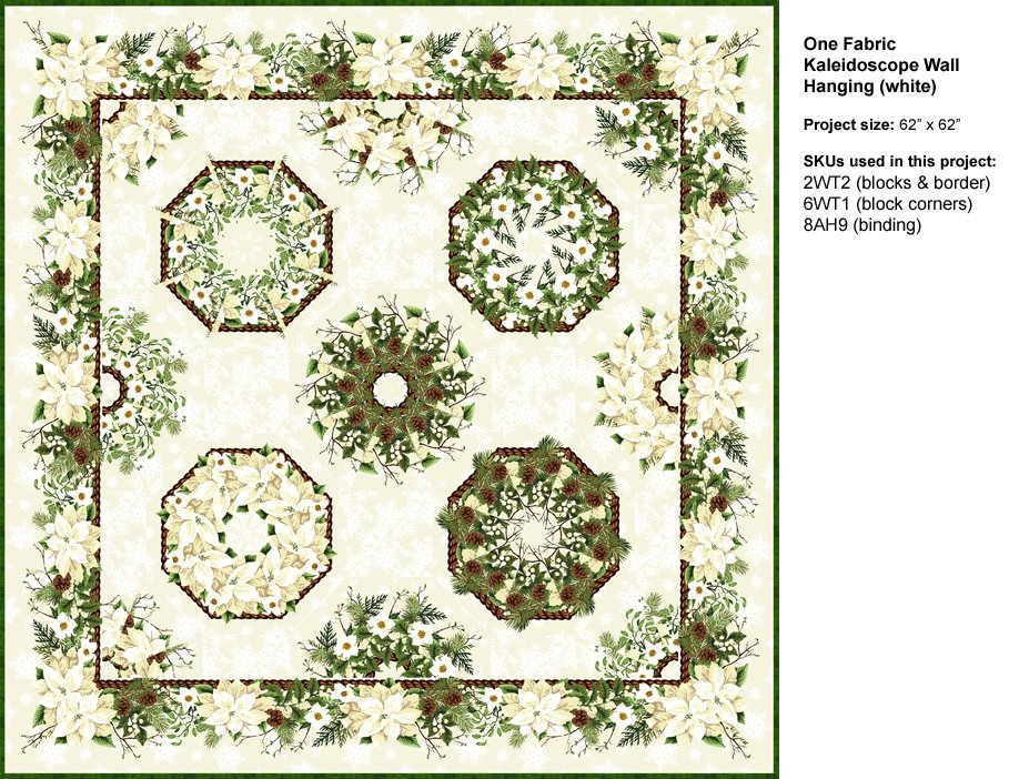 One Fabric Kaleidoscope Kit- Wallhanging - Green