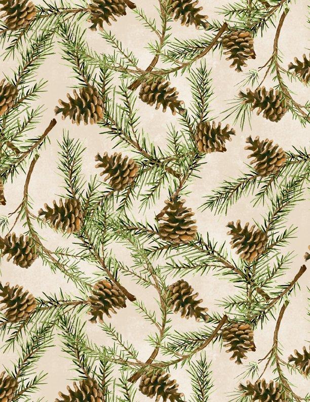 Christmas in the Wildwood Pinecones Tan