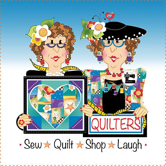 Quilters - Sew, Quilt, Shop, Laugh - 6 Fabric Art Panel