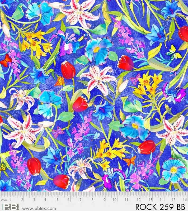 Rock Garden Large Floral Blue