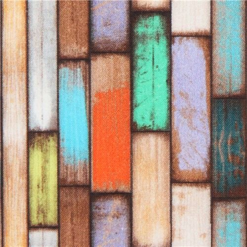Stof France fabric with colorful wood panel design