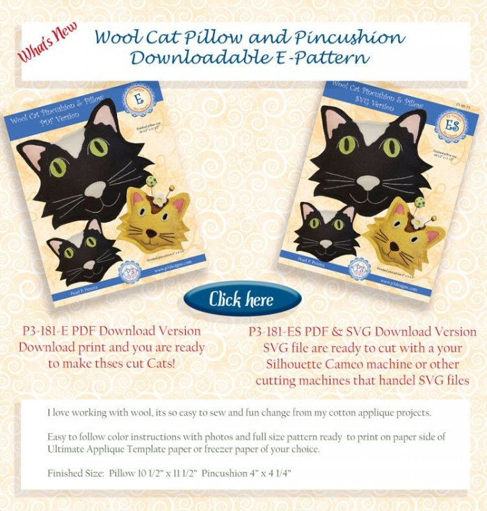 P3-181-E Wool Cat Pillow and Pincushion