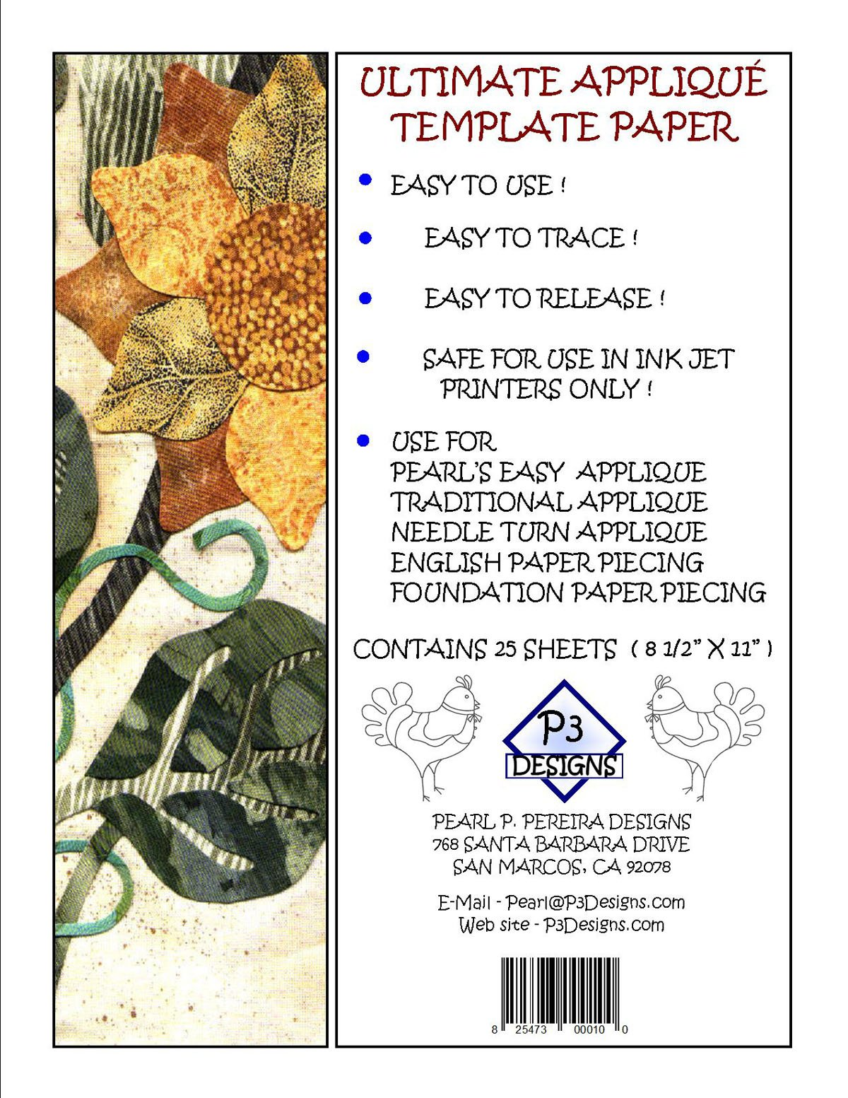 99003 Ultimate Applique Template Paper 8.5 x 11