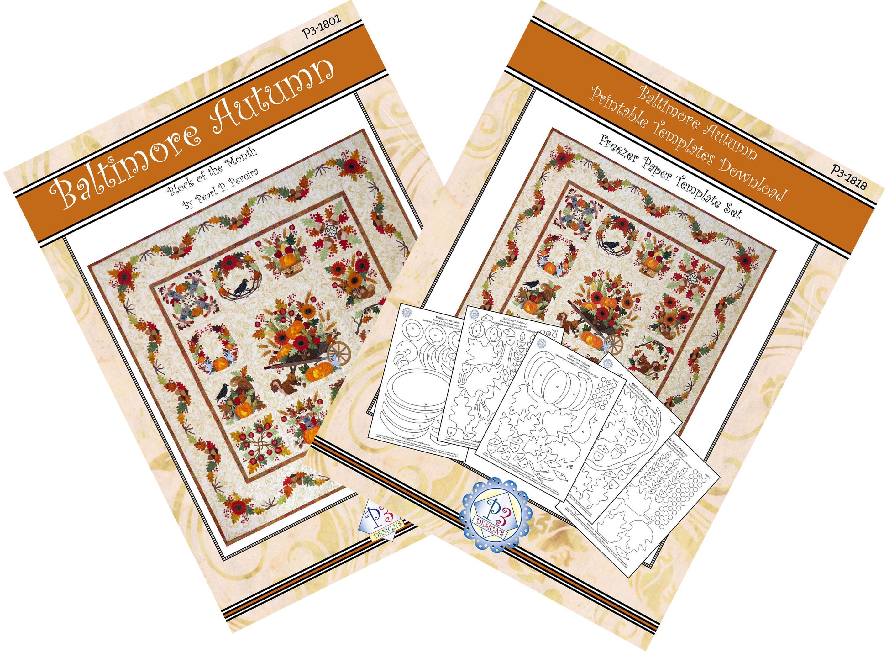 P3-1800-1 Baltimore Autumn Pattern Set & Printable Template PDF Download